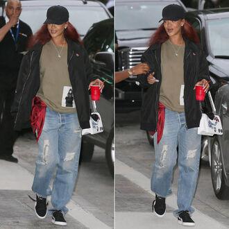 sweater jeans rihanna denim boyfriend jeans jacket bomber jacket