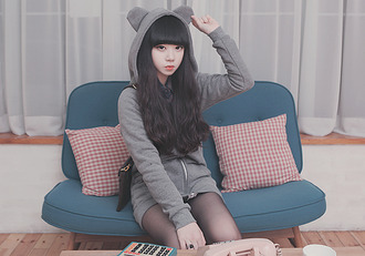 gray bear hood korean ulzzang soft ear cardigan