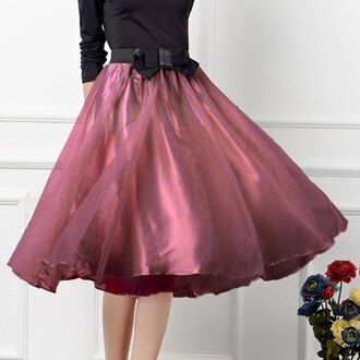 skirt bow bowknot midi skirt tulle skirt bottoms clothes cute summer beautiful fashion girly outfit sammydress red dress