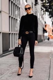 fashionjackson,blogger,belt,sweater,jeans,shoes,bag,sunglasses,all black everything,pumps,black sweater,gucci belt,handbag,fall outfits