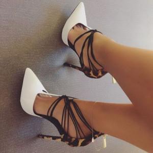 Lillian White Ankle Straps D'orsay Pumps