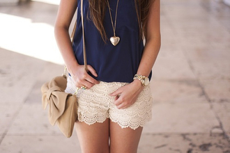 skirt shorts lace bag white clothes navy heart summer outfits jewels shirt cute white lace shorts tank top retro cute hipster grunge hippie top navy floral cream infinity alternative hot pants necklace accessories heart necklace blouse white lac stiches claire's t-shirt purse mesh seethroughblouse