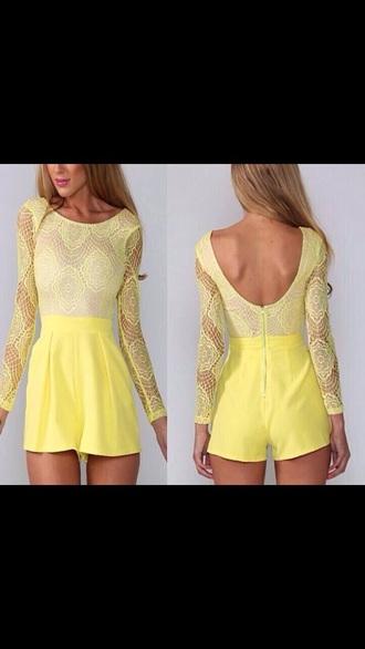 jumpsuit yellow lace jumpsuit