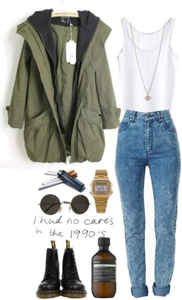 jeans high waisted jeans denim blue green sunglasses jacket white tank top camo jacket cardigan shoes shirt