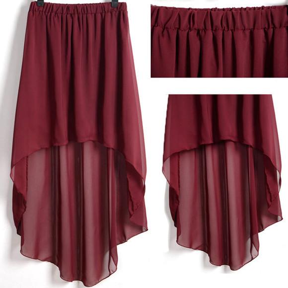 maxi skirt maxi burgundy high low