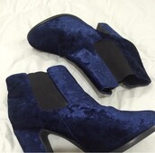 shoes,boots,booties,velvet,heels,blue velvet,velvet shoes