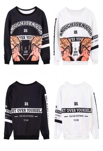 sweater black white pop art cute