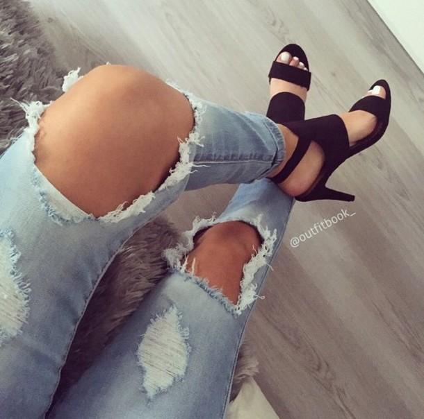 shoes black heels sandal heels jeans