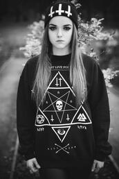 jacket,girl,up side down cross,cross,illuminati,long hair,hat,pentagram,satan,b&w,black and white,sweater,halloween,fashion,women,stars,black,triangle,skull,shirt,pullover,white,occult,death,goth,black sweater