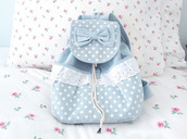 bag,cute bag,sweet,backpack,kawaii,blue,lace,cute,girly,fashion,style,korean fashion,kawaii bag
