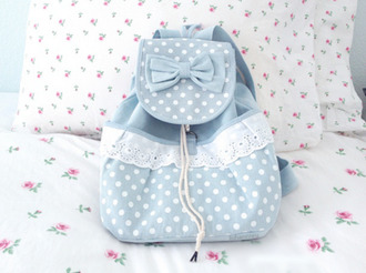 bag cute bag sweet backpack kawaii blue lace cute girly fashion style korean fashion kawaii bag