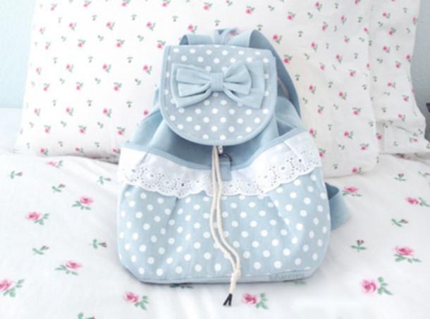 Bag Cute Bag Sweet Backpack Kawaii Blue Lace Cute