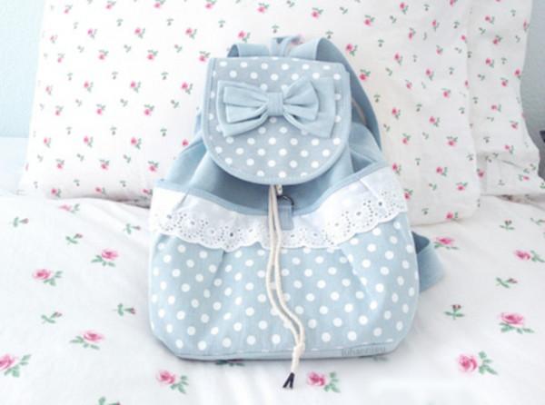 bag cute bag sweet backpack kawaii blue lace cute girly fashion style korean fashion kawaii bag