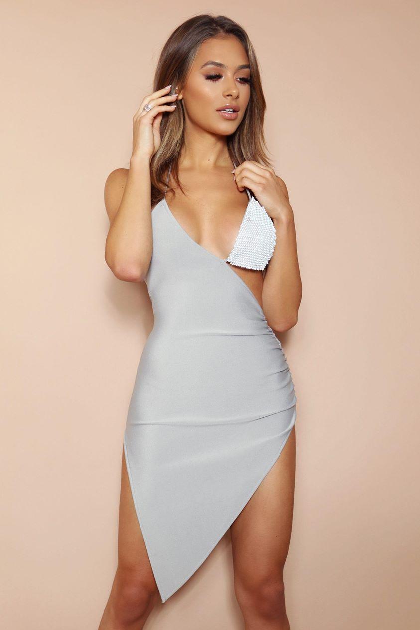 The Zadie Grey Diamante Bandage Midi Dress