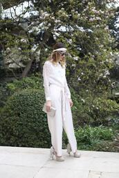 from brussels with love,blogger,blouse,pants,shoes,bag,spring outfits,headband,white blouse,clutch,high heel pumps
