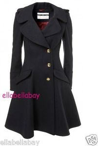 TOPSHOP Navy Fit & Flare Skirted Princess Riding Bandstand Wool Coat 10 38 US6 | eBay