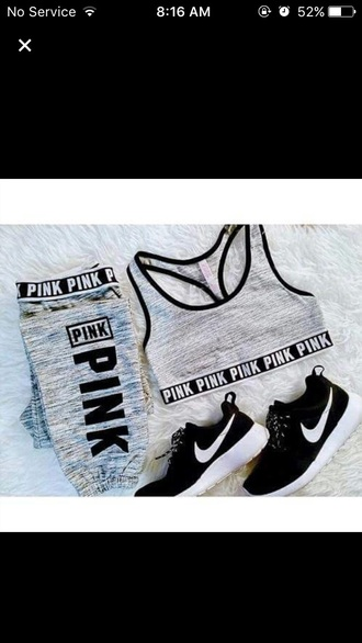top pink by victorias secret nike nike roshe run cute grey black white shoes bra pants pink victoria's secret