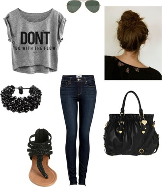 pants t-shirt shirt bag jeans shoes jewels blouse skirt rebel attitude skinny jeans pretty little liars top fashion don't go with the flow fall 2014 cool shirts purse black purse grey top cardigan the pretty reckless