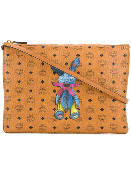 MCM women bag clutch leather print brown