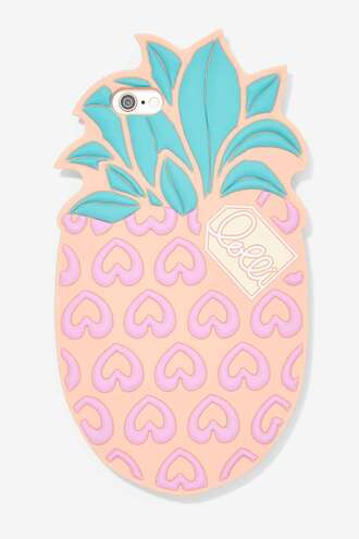 phone cover pineapple print fruits cute lovely trendy pastel pastel phone case heart gift ideas peach technology iphone case pink phone case back to school