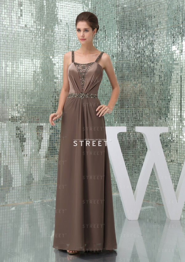 dress elegant spaghetti strap floor-length