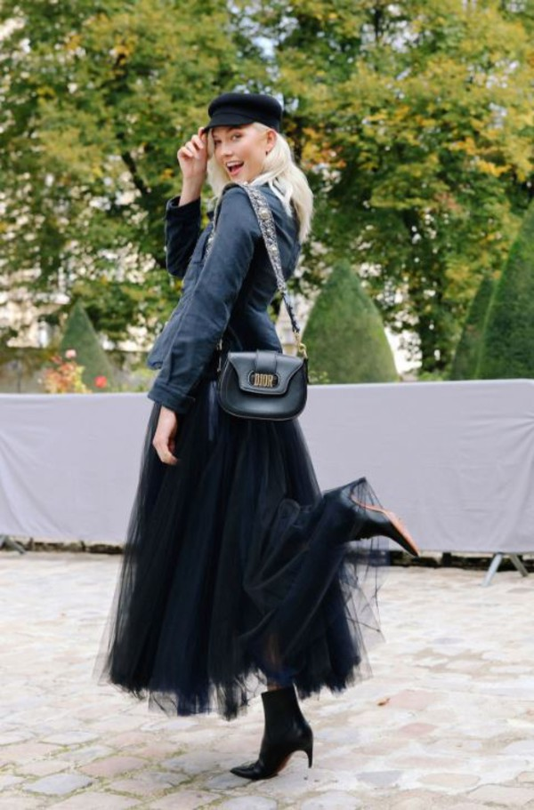 skirt jacket hat karlie kloss ankle boots model off-duty Paris Fashion Week  2017 tulle. 536f2612f0a6