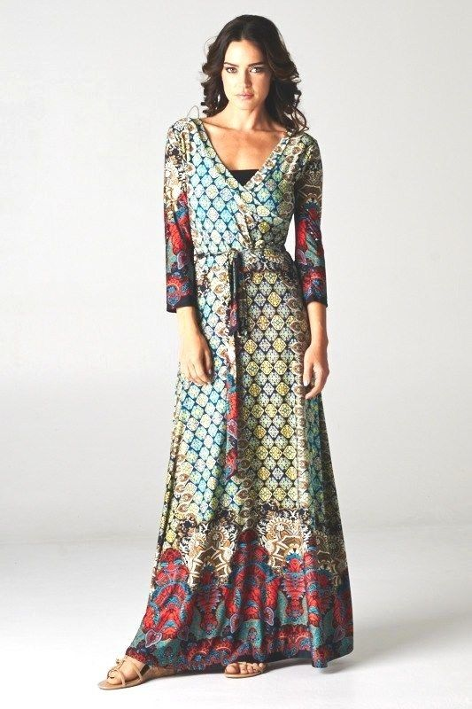 Fall Boho Chic Long Sleeves Wrap Maxi Dress Best Selling Size L 10-12 -PennyLuna
