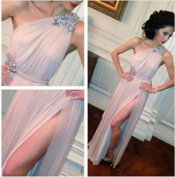 dress evening dress split soft pink light light pink embellished one shoulder prom long dress