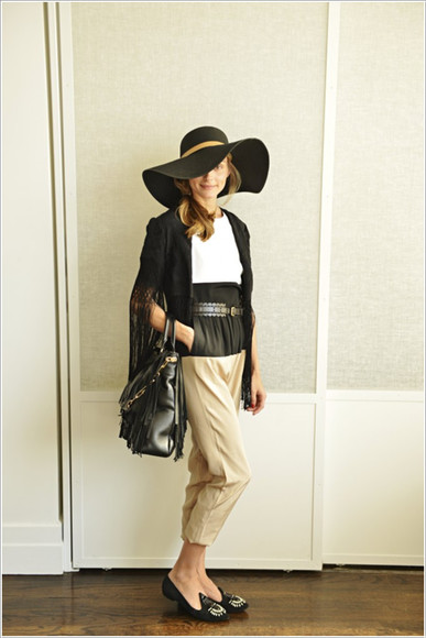 olivia palermo shoes pants kimono cardigan Belt