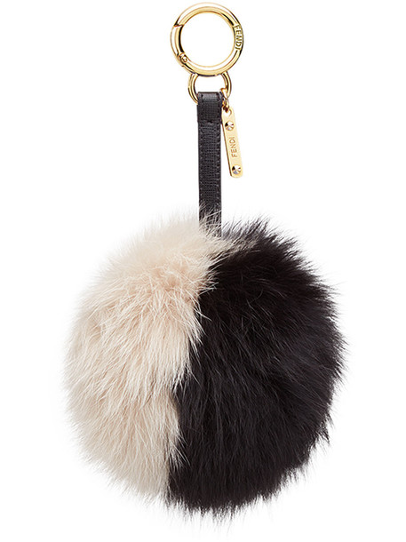 Fendi bag charm pompom bag fur fox women bag leather black