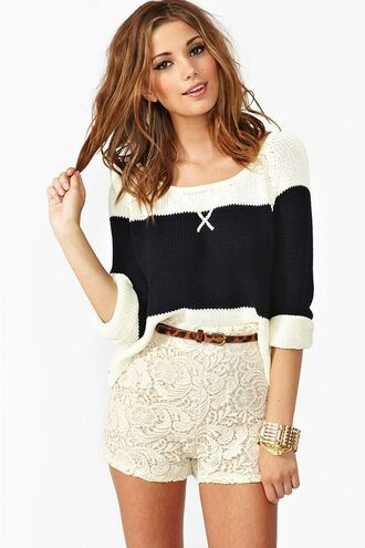 shorts embroidery knit creme