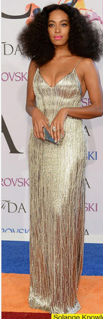 dress solange gold calvin klein francisco costa silk dress cfda fashion awards cfda fashion awards silver metallic