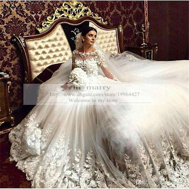 Islamic Wedding Dresses 2016 A Line Long Sleeves Vintage Lace Plus ...