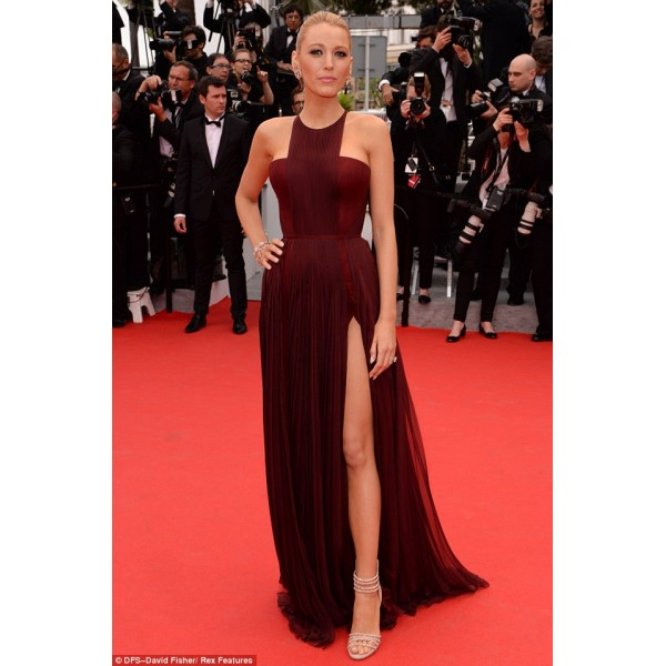 Blake lively burgundy high slit prom dress 2014 cannes film festival