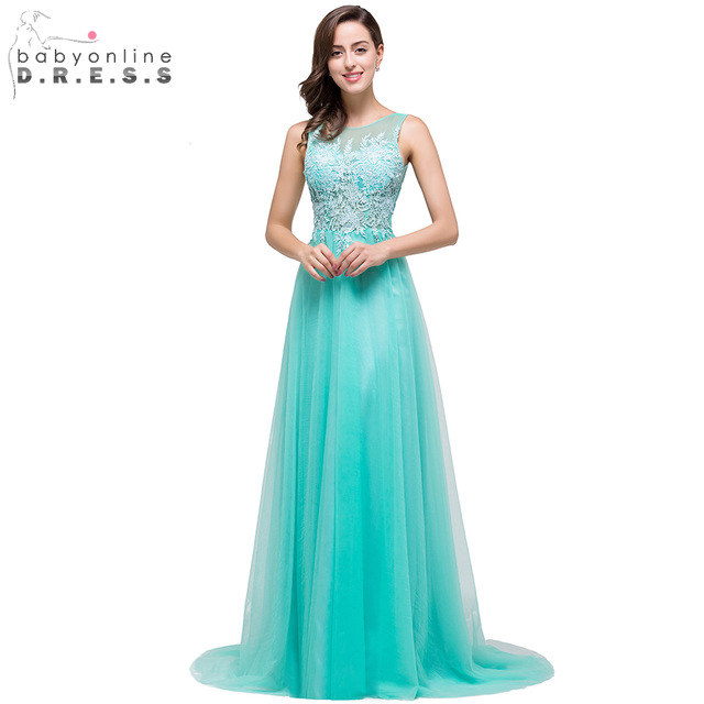 Aliexpress.com : Buy Robe De Soiree Elegant Long Turquoise Evening ...