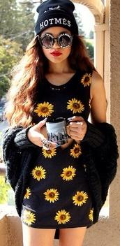 dress,sunflower,flowers,grunge,90s style,fashion,alternative,black,cute,print,sunglasses