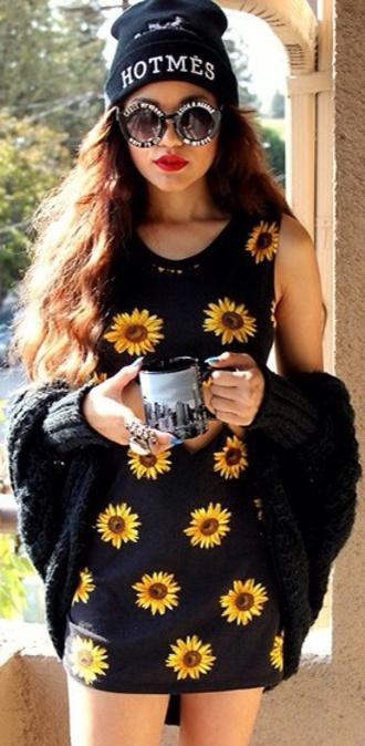 dress sunflower flowers grunge 90s style fashion alternative black cute print sunglasses