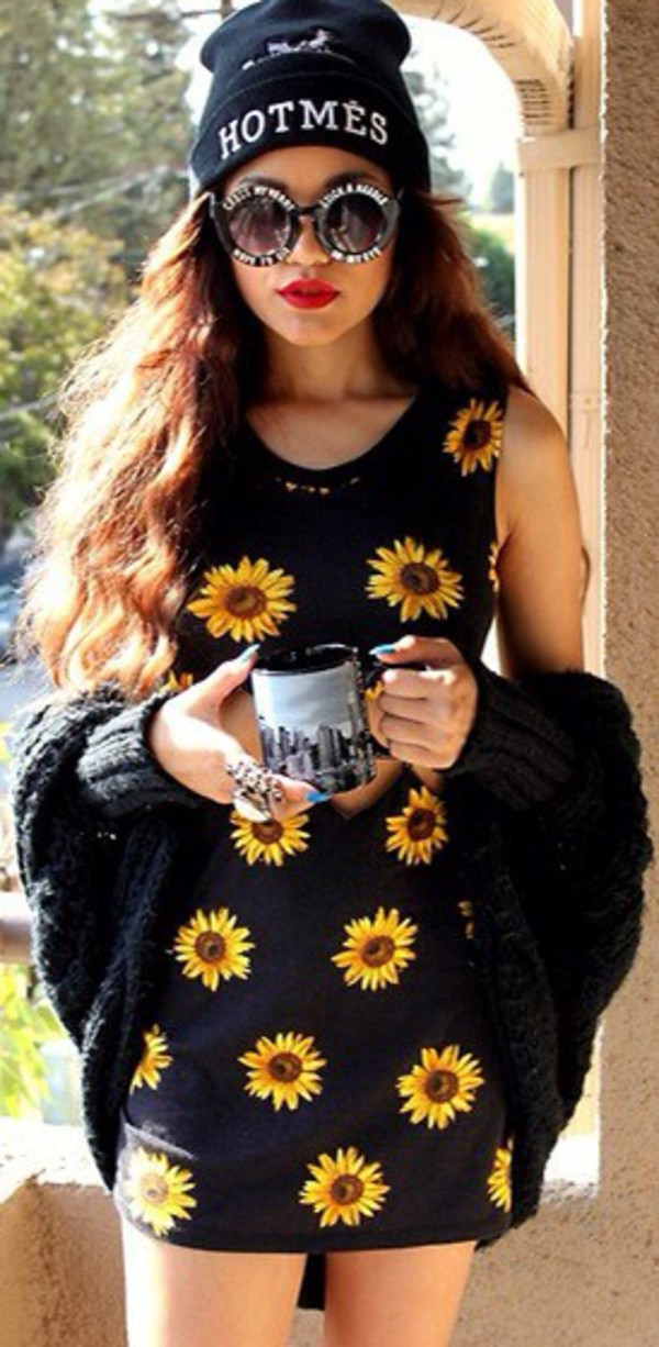 dress sunflower flowers grunge 90s style fashion alternative black cute print sunglasses