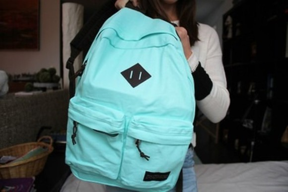 bag backpack school aqua blue