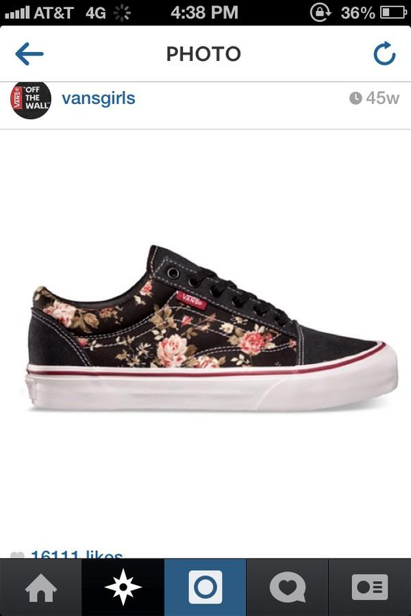 shoes vans sneackers black floral printed vans