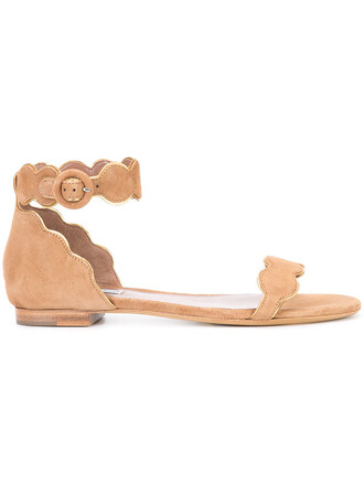 women pearl sandals leather suede brown shoes