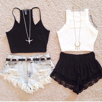 blouse crop tops lace boho vintage shorts outfit cute top high waisted shorts