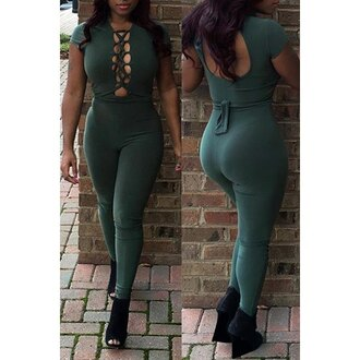 jumpsuit overalls rose wholesale green lace up black streetwear sexy curvy streetstyle edgy