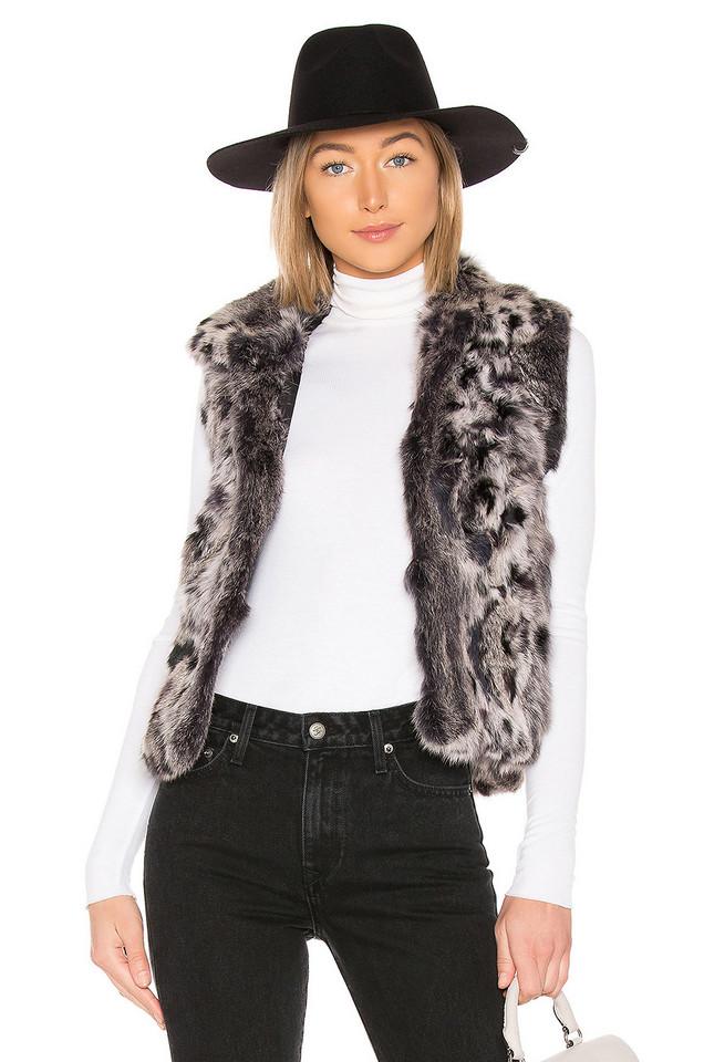 Adrienne Landau Animal Printed Fur Vest in gray