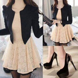 dress lace lace dress black jacket cream tan fringes black fringe black heels black blazer short lace dress