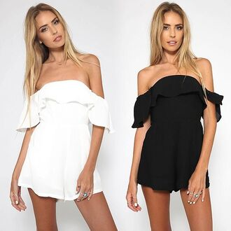 romper white strapless playsuit sleeveless playsuit black peppermayo