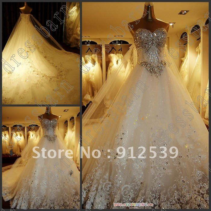 2013 Newest Luxury bride dress Sweetheart Swarovski crystals Applique Bead cathedral wedding dresses-in Wedding Dresses from Apparel & Accessories on Aliexpress.com