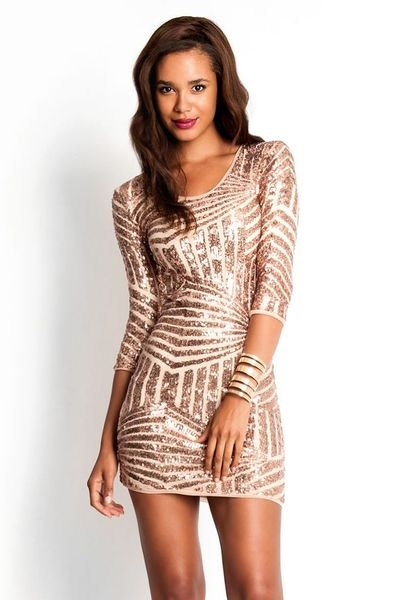 Rose Gold 3 4 Sleeve Bodycon Dress Slimskii Couture