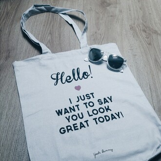 bag yeah bunny hello i just want to say you look great today shopping bag tote bag