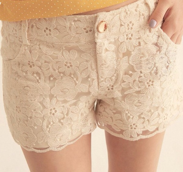 flowers cream pattern shorts summer shorts